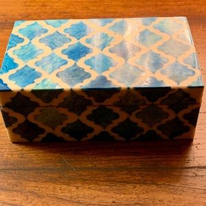 Lacquered Enamel Inlay Mosaic Trinket Keepsake Box